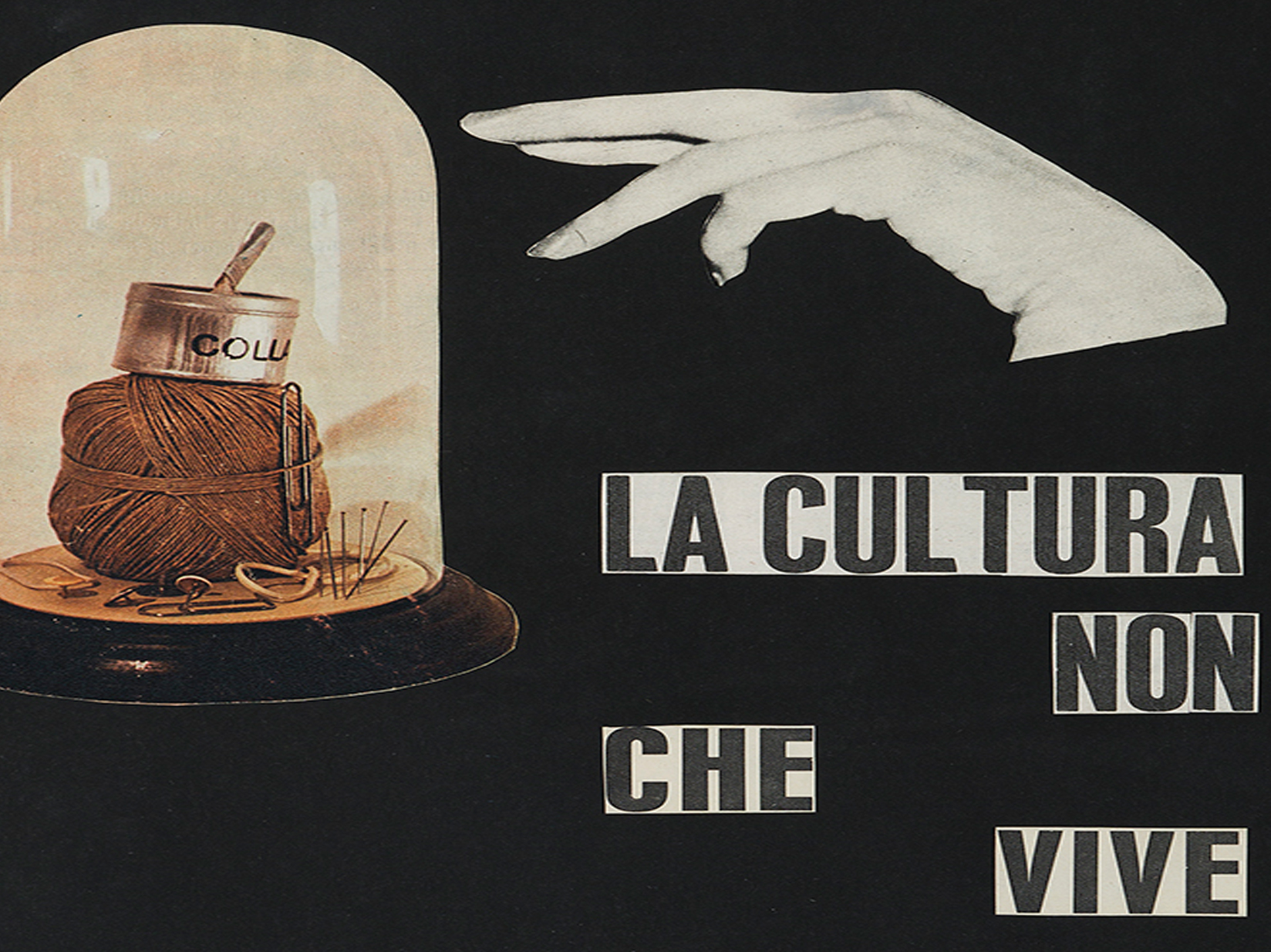 detail: Ketty La Rocca, La cultura che non vive, 1964-65, collage on paper, 44,5 x 29,5 cm